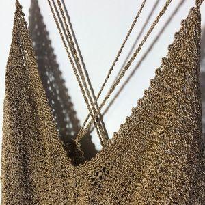 J CREW shimmery crochet gold tank top